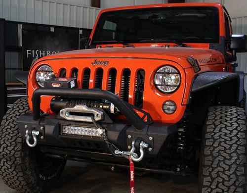 Jeep Wrangler JK Front Stubby Winch Bumper W/ LED Cutout 07-17 Fishbone FB22004