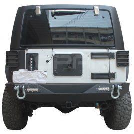 Opar Rear Bumper W/ LED Lights&Hitch Receiver&D-ring for Jeep Wrangler JK 07-17